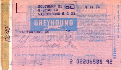 Greyhound Ticket From Walterboro
