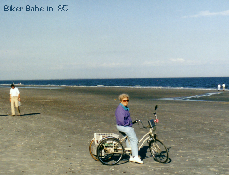 Mom 1995 on her trike at the coasts of Florida