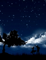 couple_dance_sky_night_tree_silhouettes