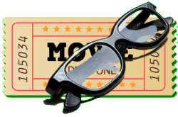 Movie Ticket and Glasses